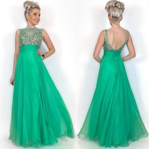 Jade Green Long Prom Dress